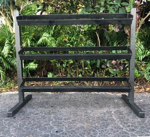 BIG 3 TIER RACK : 52. LONG / 42 INCHES HIGH / 140 INCHES OF DUMBBELL SPACE for Sale in Pompano Beach, FL