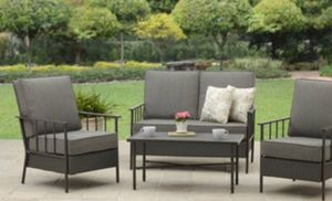 New!! 4 pc cushioned coffee table patio set, outdoor conversation set, chat set, patio furniture , gray for Sale in Phoenix, AZ