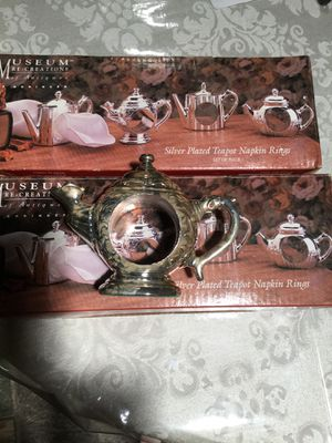 Silver plated Tea Pot Napkin Rings Holders New for Sale in Kissimmee, FL