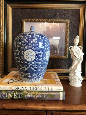 "Blue and white chinoiserie ginger jar. It is 11"" tall and 7"" wide at the widest part for Sale in Tucker, GA"
