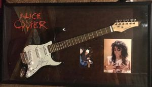 DNA authentication certification autographed Alice Cooper guitar . Alice Cooper autograph pictures and Alice Cooper patch in shadow box. Supreme. for Sale in New Hradec, ND