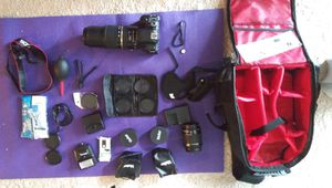 Canon T6i Camera + Tamron Telephoto lens + a ton of accessories for Sale in Lakewood, WA