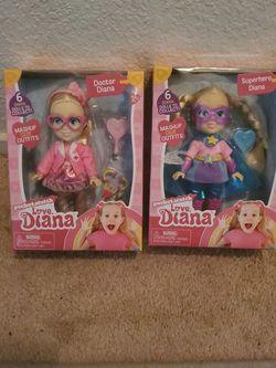 New Love Diana Dolls - Doctor Diana & Superhero Diana ($20 Value) for Sale in Ripon,  CA