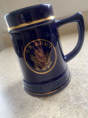 Large Vintage Blue with Gold Trim and Gold U.S Army Coffee Mug for Sale in Saint Robert, MO