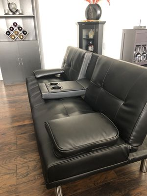 Modern Faux Leather Convertible Futon Sofa Bed for Sale in Los Angeles, CA