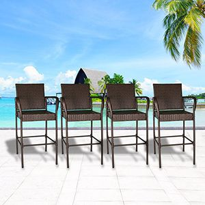Cloud Mountain Set of 4 Outdoor Wicker Rattan Bar Stool Bar Set Outdoor Patio Furniture Bar Stool Chairs Club Chair Patio Dining Chairs, Brown! New! for Sale in Riverside, CA