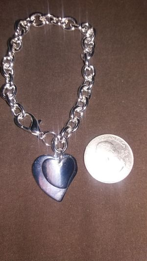 STERLING SILVER SOLID DOUBLE HEART CHARM BRACELET for Sale in Lancaster, PA