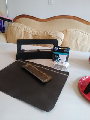 Office supplies: hp printer ink, hole punch, antique pen tray and file pouch. for Sale in Vancouver, WA