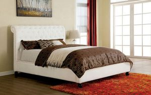 Brand New White Leather Queen Size Platform Bed Frame for Sale in Bellflower, CA