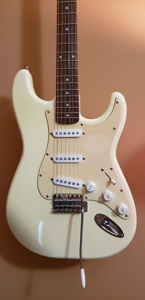 Fender stratocaster guitar squier with soft gig bag , very good condition .Sounds amazing for this level of guitar made by fender. for Sale in Bolingbrook, IL