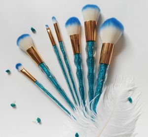 7 pcs professional makeup brushes. blue glitter diamond shape beautiful cute set for Sale in Los Angeles, CA