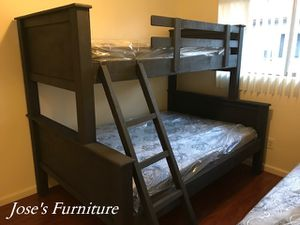 Solid Wood Twin Over Full Bunk Bed (Mattresses Included) for Sale in Lynwood, CA