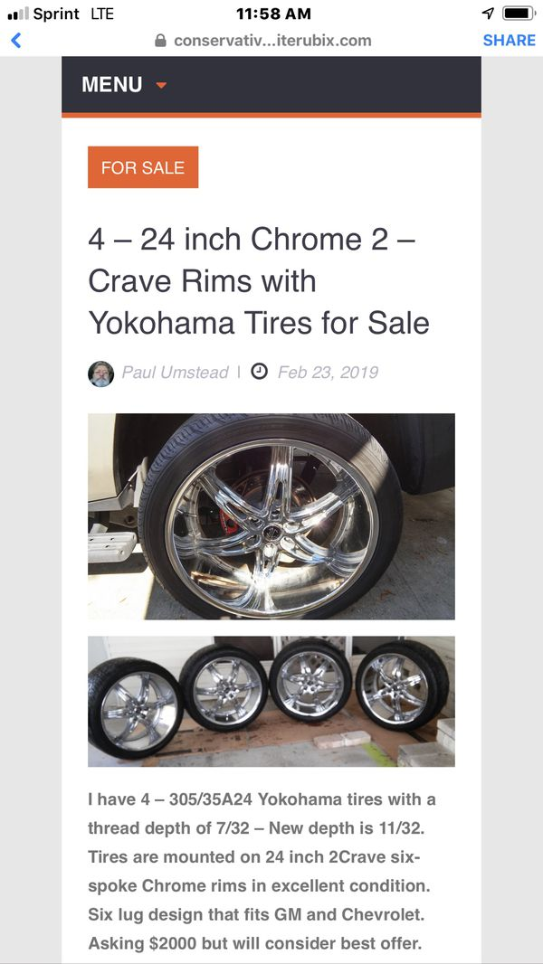 4-24 inch Chrome 2 Crave rims with Yokohama ties for sale.