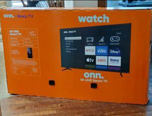 65 inch 4k ultra smart tv led roku built in... new in box for Sale in Plano, TX