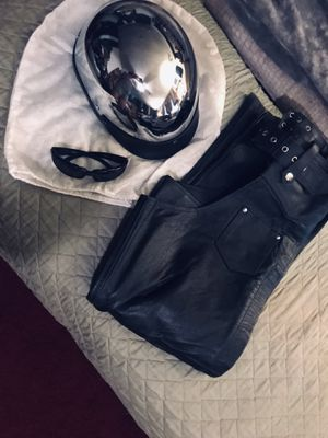 DOT chrome helmet as S/leather chaps M/glasses for Sale in Homer, LA
