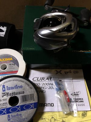 Curado 201 Shimamo baitcast reel with fishing line and case for Sale in Portland, OR