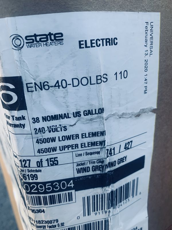 State water heater 40 gallones electric