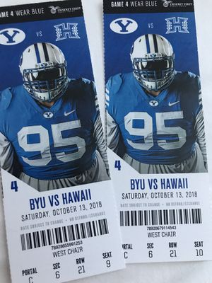 2 BYU tickets + Hospitality wrist bands for Sale in Salt Lake City, UT