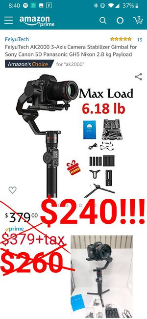 DSLR camera gimbal stabilizer 6.18lb max load on, 3 axis, FeiyuTech ak2000 gimbal for Nikon, Panasonic Lumix, canon, Sony cameras and more for Sale in Los Angeles, CA