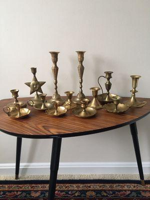 13 antique solid brass candlesticks home decor for Sale in Fairfax, VA