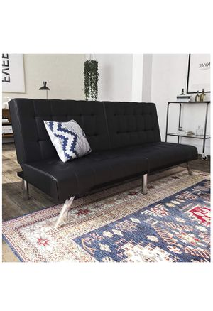 DHP Emily Futon Sofa Bed, Modern Convertible Couch With Chrome Legs Quickly Converts into a Bed, Black Faux Leather [Futon] for Sale in Phoenix, AZ
