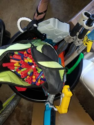 Bucket of nerf guns, laser guns and nerf gun ammo for Sale in Los Angeles, CA