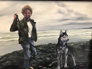Cool Guy and Watchful Husky Painting! for Sale in Seattle, WA
