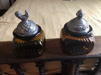 Two Glass Canisters with Ornamental Lids for Sale in Alexandria,  VA
