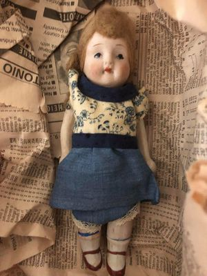 Old Antique Bisque Porcelain Doll in Original Outfit , Hand Painted , Metal Arms for Sale in Leander, TX