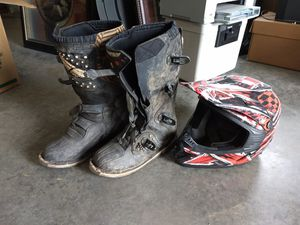 Fly motocross boots and Fulmer helmet for Sale in Mountainburg, AR
