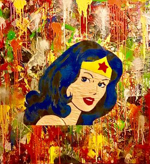 3FT X 3FT Wall Street POP Art Canvas Painting Graffiti Urban Abstract Acrylic Collage Wood Frame Cotton Panel Paint Wonder Woman Superheroes Comics for Sale in North Palm Beach, FL