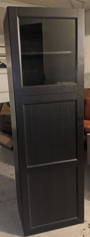 Dark Brown Cabinet with glass door and shelves for Sale in Irvine, CA
