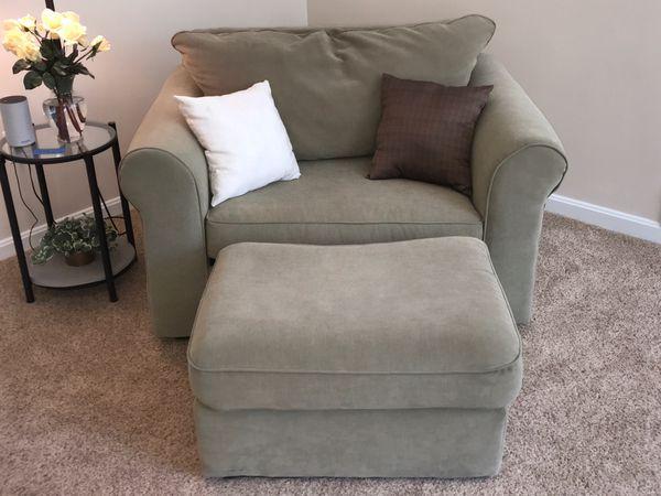 Sage green sofa, ottoman, and large chair