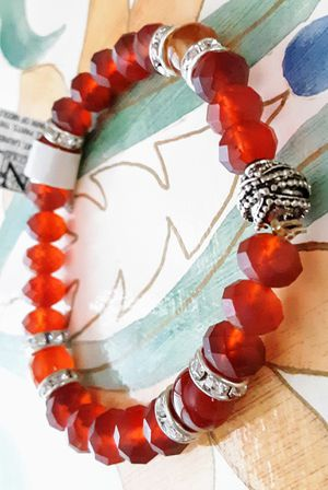 New Nicole silvertone with red beads and crystal stretch bracelet for Sale in Fullerton, CA