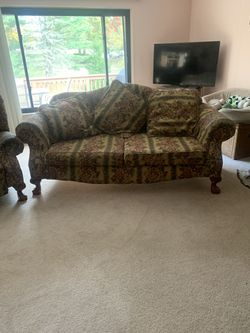 Recliner with matching sofa in good condition from Levins furniture. Pillows included. for Sale in Venetia,  PA