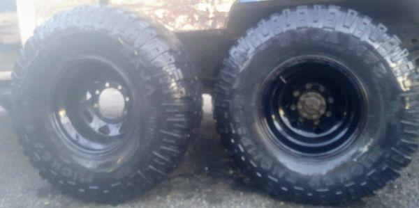 """8 lug ford 15"""" Black legand Rims on Mickey Thompson BAJA MTZ tires. 75-80% tread."""