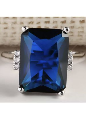 New size 9 sterling silver ring with blue sapphire stone for Sale in Sarasota, FL
