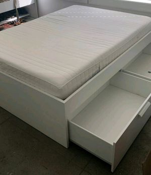 Lk NEW Ikea White Brimnes FULL DOUBLE Sz Size Bed Frame Bedframe + 4 HUGE Storage Drawers INCLUDED (NO MATTRESS) for Sale in Monterey Park, CA