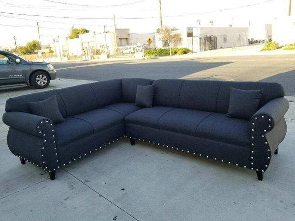 NEW 7X9FT ELITE BLACK FABRIC SECTIONAL COUCHES