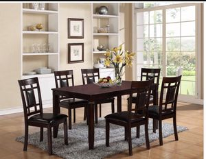 Furniture table with six El Rio furniture finance available down payment $39 1456 belt line rd suite 121 Garland tx 75044 Open from 9:30-8:30 for Sale in Garland, TX
