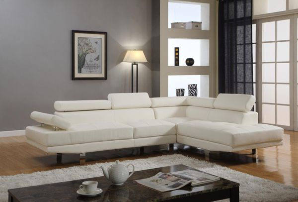 Brand New White Faux Leather Sectional Sofa Couch