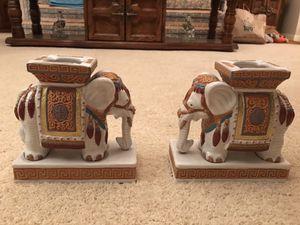 Old vintage glazed art pottery Elephant pedestal decorative bookends figures for Sale in Vienna, VA