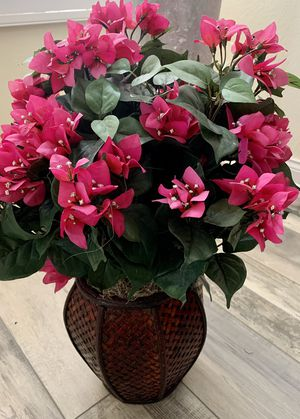 Artificial Pink Flower Bouquet & Wicker Vase for Sale in Oceanside, CA