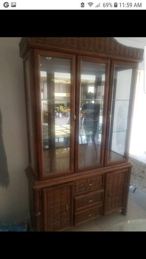 Antique china cabinet with lights for Sale in Las Vegas, NV