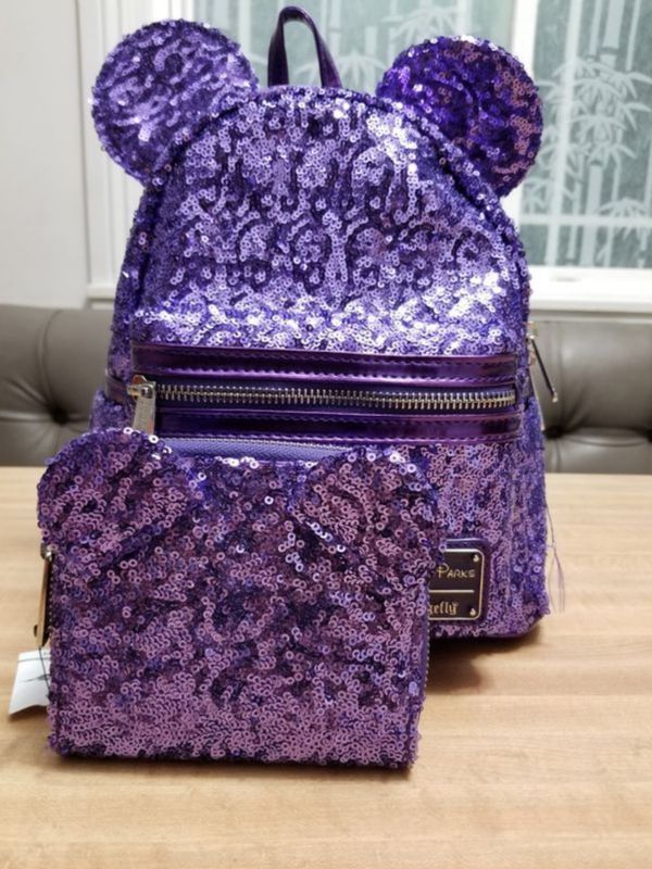 Disney loungefly purple potion mini backpack and wallet $90