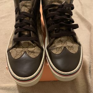 Gucci Authentic High Top Sneakers Shoes Men's Gucci Size 11 (12 US) Beige Ebony for Sale in Raleigh, NC