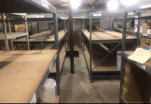 Industrial pallet racks 6&8ft tall 4ft wide 8ft long pallet racks 6 sections of 8ft tall available must buy 2 minimum $150 for 2 connecting sections for Sale in Hollywood, FL