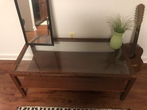 Wooden coffee table with glass top and extras! for Sale in Silver Spring, MD