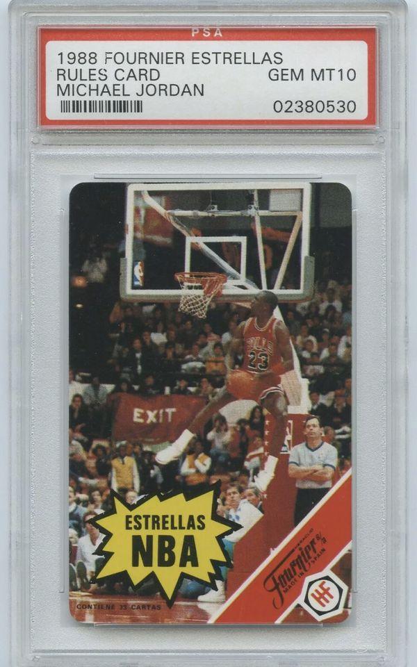 1988 Fournier Estrellas Rules Card MICHAEL JORDAN PSA 10 GEM MINT Chicago Bulls