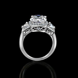 4 ct. Cushion radiant center halo setting Sterling Silver ring w/side tapered baguettes 635R71567 for Sale in New York, NY